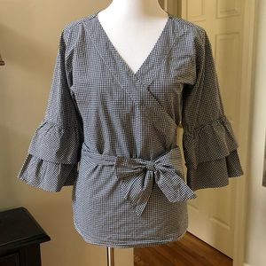 LOFT Black white gingham wrap shirt ruffle sleeves